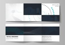 The minimal vector editable layout of two square format covers design templates with simple geometric background made. From dots, circles, rectangles for stock illustration