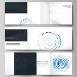 The minimal vector editable layout of two square format covers design templates with simple geometric background made. From dots, circles, rectangles for royalty free illustration