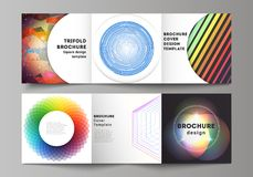 The minimal vector illustration of editable layout. Modern covers design templates for trifold square brochure or flyer. The minimal vector illustration of Royalty Free Stock Images