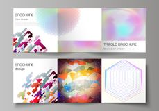 The minimal vector illustration of editable layout. Modern covers design templates for trifold square brochure or flyer. The minimal vector illustration of Stock Images