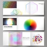 The minimal vector illustration of editable layout. Modern covers design templates for trifold square brochure or flyer. The minimal vector illustration of Stock Photos