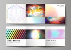 The minimal vector illustration of editable layout. Modern covers design templates for trifold square brochure or flyer. The minimal vector illustration of Royalty Free Stock Photography