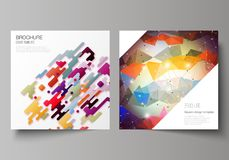 Minimal vector illustration of editable layout of two square format covers design templates for brochure, flyer. The minimal vector illustration of editable Royalty Free Stock Image
