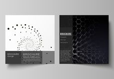 The minimal vector illustration of editable layout of two square format covers design templates for brochure, flyer. Magazine. Technology, science, future Stock Image