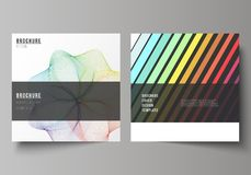 Minimal vector illustration of editable layout of two square format covers design templates for brochure, flyer. The minimal vector illustration of editable Stock Images