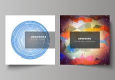 Minimal vector illustration of editable layout of two square format covers design templates for brochure, flyer. The minimal vector illustration of editable Royalty Free Stock Images