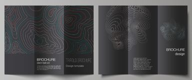 The minimal vector illustration of editable layouts. Modern creative covers design templates for trifold brochure or. Flyer. Topographic contour map, abstract royalty free illustration