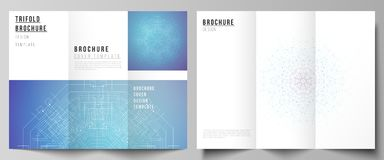 The minimal vector illustration layouts. Modern creative covers design templates for trifold brochure or flyer. Big Data. Visualization, geometric communication stock illustration