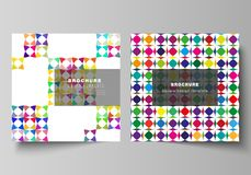 The minimal vector layout of two square format covers design templates for brochure, flyer, magazine. Abstract. Background, geometric mosaic pattern with bright stock illustration