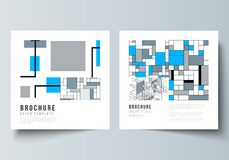 The minimal vector layout of two square format covers design templates for brochure, flyer, magazine. Abstract polygonal. Background, colorful mosaic pattern vector illustration