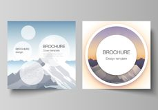 The minimal vector layout of two square format covers design templates for brochure, flyer, magazine. Mountain. Minimal vector illustration layout of two square vector illustration