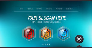 Minimal Website Home Page Design with Slider background. And space for text in header and footer Royalty Free Stock Images