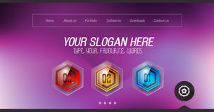 Minimal Website Home Page Design with Slider background. And space for text in header and footer stock illustration