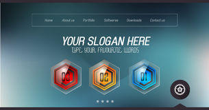 Minimal Website Home Page Design with Slider background. And space for text in header and footer Royalty Free Stock Photos