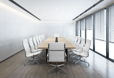 Minimal white Conference room with white chairs Royalty Free Stock Image