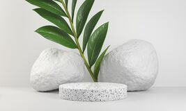 Free Minimal White Marble Platform For Presentation Product With Plant And Rock Stone Background 3d Render Royalty Free Stock Photos - 217074318