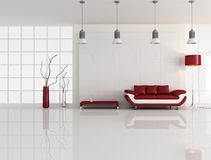 Minimal white and red interior Stock Photography
