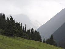 Minimal wilderness landscape. misty mountains royalty free stock photos
