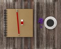 Minimal work space : notebook, red pencil, eraser with coffee  o. N wooden table background. Vintage picture tone, Top view , flat lay, The concept of work to Stock Photos