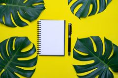 Minimal work space, Top view flat lay Stock Photography