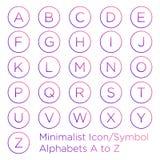 Minimale Alphabetikone innerhalb des Kreises stock abbildung