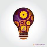 Minimale Art Glühlampeform Geschäfts-Idee Conce Lizenzfreie Stockfotografie