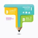 Minimale Artschablone Bleistift Infographic-Designs. Stockfotografie