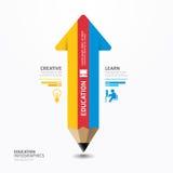 Minimale Artschablone Pfeil-Bleistift Infographic-Designs. Lizenzfreies Stockbild