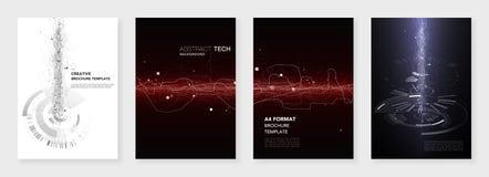 Minimale brochuremalplaatjes Abstracte digitale textuur op donkere achtergrond Het concept van technologie sc.i-FI, abstract vect Royalty-vrije Stock Foto