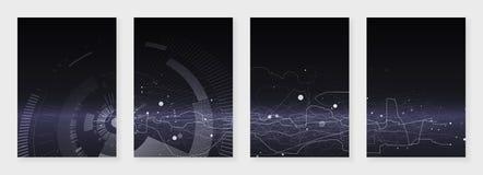 Minimale brochuremalplaatjes Abstracte digitale textuur op donkere achtergrond Het concept van technologie sc.i-FI, abstract vect Stock Afbeeldingen