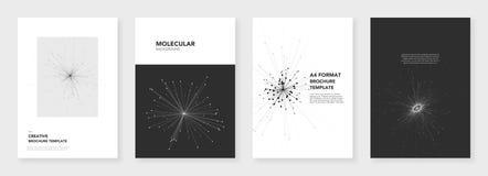 Minimale brochuremalplaatjes Moleculemodellen op wit Technologie sc.i-FI of medisch concept, abstract vectorontwerp Stock Foto