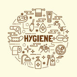 Minimale dünne Linie Ikonen der Hygiene eingestellt Lizenzfreie Stockfotografie
