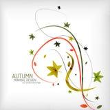 Minimale de herfstwerveling, installatie en bladeren, Stock Afbeeldingen