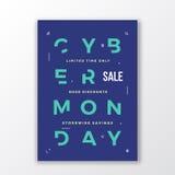 Minimale de Typografieaffiche of Banner van de Cybermaandag Moderne Met de hand gemaakte Brieven Meetkunde Decoratieve Symbolen e vector illustratie