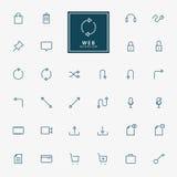 32 minimale Entwurfsikonen des Netzes lizenzfreie abbildung