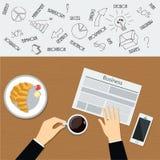 Minimale flache Vektorillustration des Geschäftsfrühstücks Sitzender und trinkender Kaffee des Geschäftsmannes mit Zeitung Stockbilder