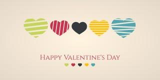 Minimale Illustration des Valentinsgrußes von fünf Herzen Stockfotografie