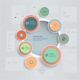 Minimale infographic schrittweise Schablone auf Weinlese maserte Hintergrund Stockbilder
