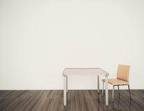 Minimale Innentabelle und Stühle Stockbild