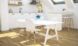 minimale Küche auf Dachboden stockbilder