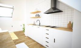 minimale Küche auf hinterer Ansicht des Dachbodens lizenzfreie stockfotografie