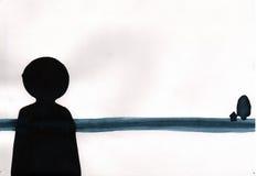Minimale Kunst der Malereigouacheart-Zusammenfassung - das einsame Schwarze f lizenzfreies stockfoto