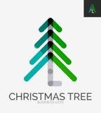 Minimale Linie Designlogo, Weihnachtsbaumikone Stockbilder