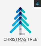 Minimale Linie Designlogo, Weihnachtsbaumikone Stockbild