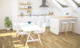 minimale Luxusküche auf Dachboden lizenzfreie stockbilder