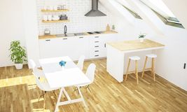 minimale Luxusküche auf Draufsicht des Dachbodens lizenzfreie stockbilder