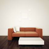 Minimale moderne binnenlandse stoel om blinde muur onder ogen te zien Royalty-vrije Stock Foto's