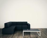 Minimale moderne binnenlandse stoel om blinde muur onder ogen te zien Stock Foto