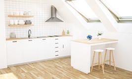 minimale moderne Dachbodenküche stockbilder