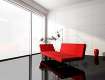 Minimale rode en witte woonkamer Royalty-vrije Stock Fotografie